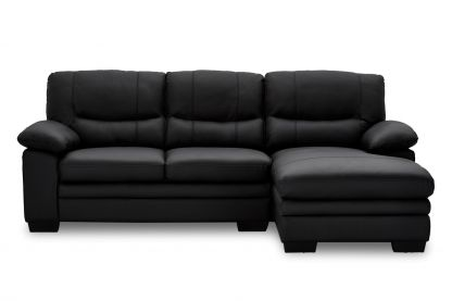 Moby sofa m. chaiselong sort læder